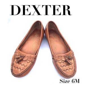 🍃🖤 Dexter Brown Woven Leather Moccasins 6M